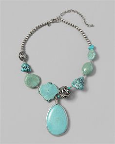 Caicos Pendant Necklace - Love this perhaps better than the other flat bead one...the silver bead finishers are great as well! - just a photo idea