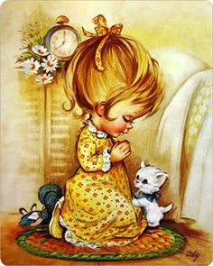 Meisje met poesje......     Een gebedje voor het slapen gaan.