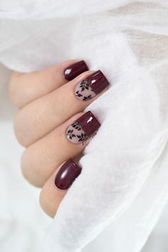 Autumn negative space nail art with CBL Obsessed with Marilyn.