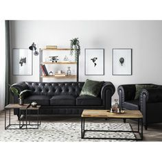 Couchgarnitur Eagle Marlow Home Co. Manly Living Room, Boho Living Room, Living Room Sofa, Black Sofa Living Room Decor, Black Leather Sofa Living Room, Black Leather Sofas, Leather Sofa Set, Leather Sectional, Interior Design Living Room