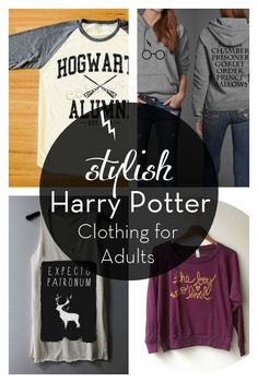 "If you still love Harry Potter (""Always."") then take a look at this collection of non-cheesy Harry Potter inspired clothing for adults! I seriously want the Butterbeer Tee, Make Love Not Horcruxes Sweatshirt, Expecto Patronum Tank, and the Hogwarts Alumni Tee!!!! Someone pleassee get them for my birthday! Pretty please??"