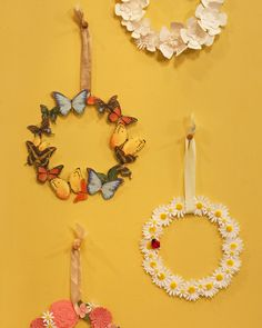Floral Sticker Wreath - Transform childhood favorites into a wreath worth using. floral stickers (like the ones that studded your favorite binder once upon a time) can be used to make a simple but sweet summer wreath. Wreath Crafts, Diy Wreath, Paper Crafts, Diy Crafts, Door Wreaths, Wreath Ideas, Mobiles, Floral Design Classes, Crafts For Seniors