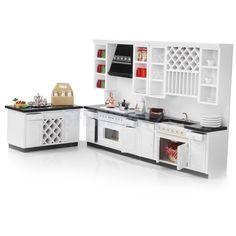 1 12 Miniature Furniture White Wooden Kitchen Cabinet Set for Dollhouse | eBay