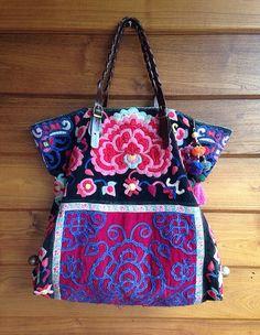 Vintage Hmong fabric Big Tote Ethnic Embroidered by LavishLanna