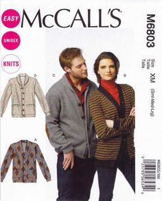 """McCall's Sewing Pattern 6803 Men's Misses' Chest Size 34-44"""" Easy Knit Button Front Cardigans"""
