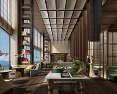 Lobby Interior, Interior Architecture, Interior Design, Clubhouse Design, Hotel Lounge, Lobby Lounge, High Ceiling Living Room, Hotel Lobby Design, Hotel Concept