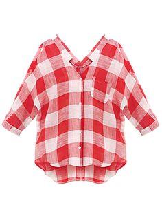 Plus Size Pocket Casual Asymmetrical Red Plaid V Neck Button Women Blouse