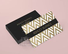 Golden business card template art deco by 101prettydesigns on Etsy