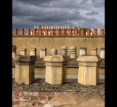 Today's skies over London. A good picture of the different chimney pots