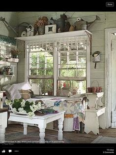 Add shelving over windows in screened porch!