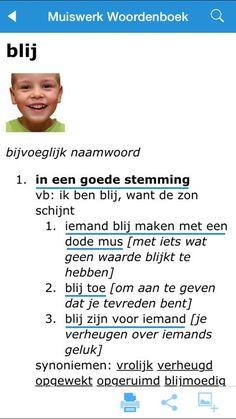 Het bijvoeglijk naamwoord (het adjectief) BLIJ. / http://www.apps-store.nl/app/muiswerk-woordenboek/