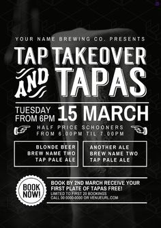 Tap Takeover & Tapas event poster. Customise your food & beverage offer graphics with pre-designed templates in easil.com