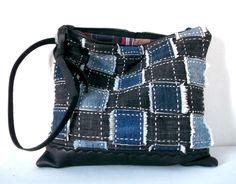 pochette en jean recyclé de la collection DENIM : gris indigo : Sacs à main par yza-dora