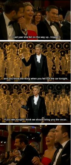 Ellen DeGeneres picking on jennifer lawrence. Two of my favorite people.