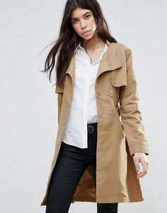 Buy it now. Brave Soul Belted Trench Coat - Tan. Coat by Brave Soul, Smooth woven fabric, Round neck, Double breasted press-stud fastening, Self-tie waist belt to cinch in the waist, Functional pockets, Storm panel to back, Centre vent, Regular fit - true to size, Machine wash, 100% Polyester, Our model wears a UK 8/EU 36/US 4 and is 176cm/5'9.5 tall. , trench, trenchlargo, trenca, trencas, trenkas, trenchconcinturón, estilochal, estilochaldeantelina, cascada, funcional, trenka…