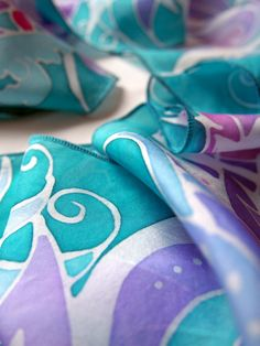 """Hand painted silk scarf """"Feathers"""" by Luiza Malinowska MinkuLUL. Strong cyan - turquoise scarf from Habotai Medium. On ETSY: https://www.etsy.com/listing/151884895/silk-scarves-feathers-silk-scarf-hand?ref=shop_home_active_2 #minkulul #turquoise #cyan #silkscarf"""