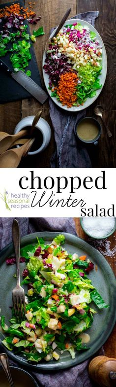 This Chopped Winter Salad with apples, celery, radishes and carrots is colorful, crunchy and clean-eating friendly! It's gluten-free, vegan-friendly and paleo. On Healthy Seasonal Recipes by Katie Webster