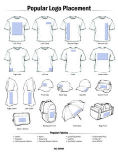 Popular Logo Placement for heat printing items for your heat press  business. Learn more at