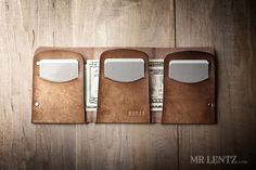 This trifold leather wallet will hold everything you need in a slim and convenient manner. The trifold wallet has three separate card slots that can hold up to 4 cards, totaling 12 for the wallet. Cash can be stored in multiple ways including behind either the right or two left flaps, or folded up behind one flap. Slip this trifold wallet easily into your front pocket...without the bulk. It is minimalism at its best. The leather is sourced from the top tannery in the U.S. and Mr. Lentz cuts…