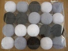 20 Black Gray White Cotton Ball Party String by SHARPEandLIGHTs