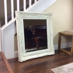 LARGE WHITE MIRROR Ornate Mirror Vanity Mirror by ShabbyShores