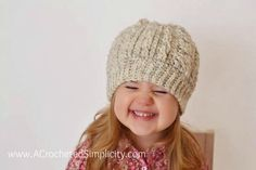 Free Crochet Pattern - Crochet Cabled Beanie (Toddler - Adult) (video tutorial included) - A Crocheted Simplicity Crochet Toddler Hat, Chunky Crochet Hat, Crochet Baby Beanie, Crochet Cable, Crochet Girls, Crochet For Kids, Free Crochet, Crochet Hats, Crochet Children