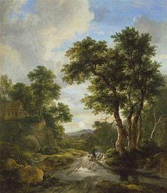 Jacob Van Ruisdael (Pays-B. 1628/1629-1682), Le Lever du soleil dans la forêt, vers 1670