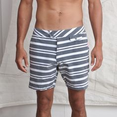 Aloha Sunday Cam Swim Trunk -- love a mismatched stripe! Chic For Men, Stylish Men, Summer Looks For Men, Men's Swimsuits, Swimwear, Dress For Success, Mens Clothing Styles, Gq, Casual Chic