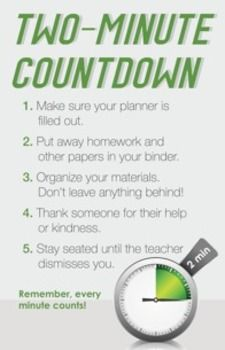 Two Minute Countdown Poster - help remind students to fill out their planner and get cleaned up before class ends