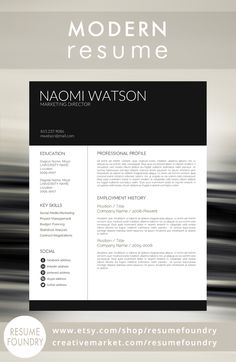 Modern Resume Template from Resume Foundry. If you need your resume to stop a recruiters for a few extra moments - this resume will do the job. Now just add your awesomeness - the job is as good as yours! Resume Tips, Resume Cv, Resume Writing, Resume Examples, Resume Ideas, Cv Tips, Resume Review, Modern Resume Template, Creative Resume Templates