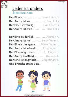 Poem about # diversity # friendship - Kinder lieder - Kindergarten Portfolio, Kindergarten Songs, Busy Boxes, Finger Plays, Have Fun, Parenting, Classroom, Teaching, Education