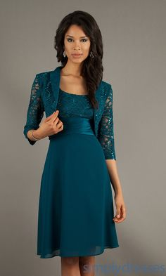 Knee Length Jade Lace Dress Semi Formal Bolero Jacket Boleros And