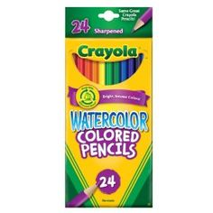 """We haven't tried these yet but I'm really intrigued.  Good reviews on Amazon, one wrote """"a second color can be layered over the first and then blended by the wet brush with great results"""".  Sounds cool! Crayola 24ct Watercolor Colored Pencils $8"""