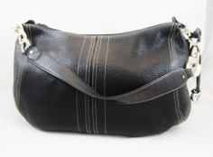 BRIGHTON Beautiful Black Pebbled Leather Hobo Shoulder Bag Unique Chain on Strap MINT | Bags and Bargains