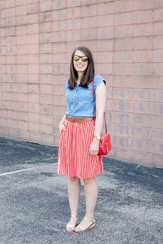 red and white striped J.Crew factory skirt + chambray blouse Target + red J.Crew crossbody purse + Madewell belt; red white and blue outfit   Style On Target blog