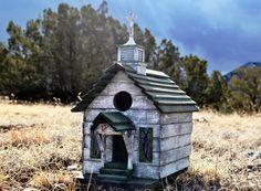 Folk Art Birdhouse Old West Coal Miner's Chapel. $225.00, via Etsy.