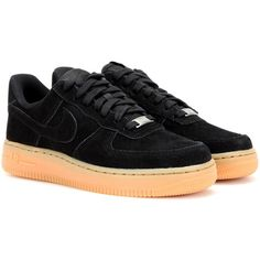 Nike Nike Air Force 1 Suede Sneakers ($77) ❤ liked on Polyvore featuring shoes, sneakers, black, nike, black suede shoes, suede sneakers, kohl shoes, black shoes and suede shoes