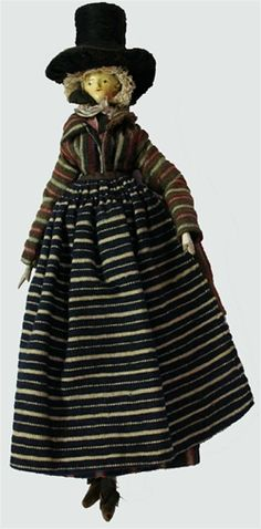 North-west Welsh bedgown variation Made of wool, often striped, with a small square collar, long sleeves and long tail.  No surviving examples are known except for one on a doll and a few illustrations.