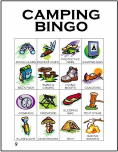 NInth card in a series of 12 camping themed BINGO cards…