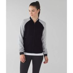 "NWT Lululemon Var-City Bomber Jacket Size 8 Brand new, tags still attached! • Black/Heathered Gray • Sold out online! • Size 8 in lululemon sizing •""Perfect for our first few laps around the track, this lightweight jacket is designed to keep us cozy as we warm up and wind down"" • fabric + features: ""strategically placed fabric in the body is lightweight yet helps keep your core warm"", ""Cotton Terry fabric sleeves are breathable, lightweight and feel great against sweaty skin"",  ""ventilation…"