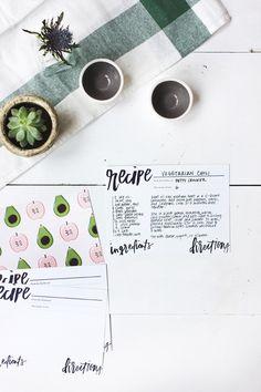 Beautiful & Free Recipe Cards #printable #recipe