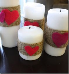 Twine candles & hearts Love~Coffee table, add platter/glass plate base with red/pink/clear glass beads surround