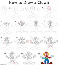 How to Draw a Clown Step by Step Drawing Tutorials with Pictures. Olaf Drawing, Drawing For Kids, How To Draw Venom, How To Draw Lightning, Draw A Snowman, Bridge Drawing, Cardboard City, Le Clown, Kids Laughing