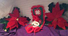 vintage christmas decorations 4 pc set: 2 Poinsettias ,hand made wreath, & bells