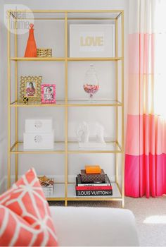 Inspiration for Office Decor | Pop of pink and coral! room from Style At Home.