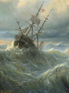 klassizismus:Ships on a Stormy Sea (details) 1840 by Raden Saleh Ben Jaggia (Indonesian. Sea Pictures, Ship Paintings, Stormy Sea, Cool Boats, Sea Art, Caravaggio, Tall Ships, Wonders Of The World, Sailing Ships