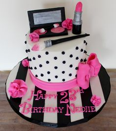 Serendipity Cakes by Olivia Girly Birthday Cakes, 2nd Birthday, Pink Black, Black And White, Make Up Cake, Mac Makeup, Serendipity, Polka Dots, Stripes