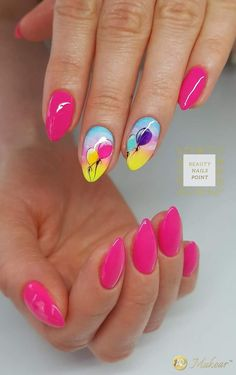 Try some of these designs and give your nails a quick makeover, gallery of unique nail art designs for any season. The best images and creative ideas for your nails. Fancy Nails, Trendy Nails, Pink Nails, Gel Nails, Pink Summer Nails, Nail Nail, Coffin Nails, Acrylic Nails, Birthday Nail Art