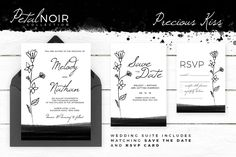 Petal Noir - Precious Kiss by AM Studio on @creativemarket wedding invitation, along with matching 'Save The Date' and 'RSVP' card.