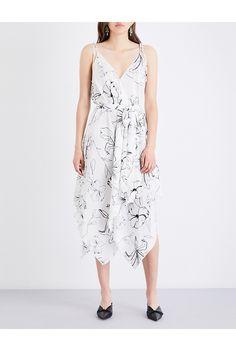 DIANE VON FURSTENBERG - Floral-print scarf silk-crepe de chine midi dress   Selfridges.com